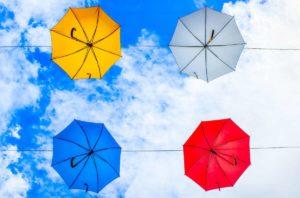 Разноцветные зонты