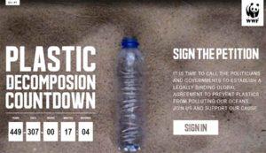 WWF запустил прямой эфир длиною в 450 лет, на котором разлагается пластиковая бутылка