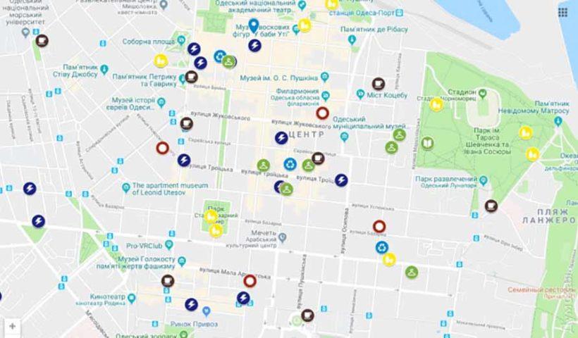 Интерактивная карта с точками по приему пластика и батареек