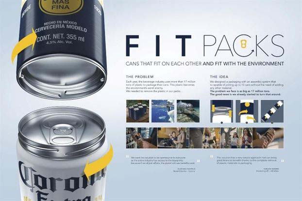 Пиво Corona в новой упаковке без использования пластиковых колец