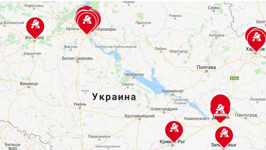 Карта Ашан в Украине
