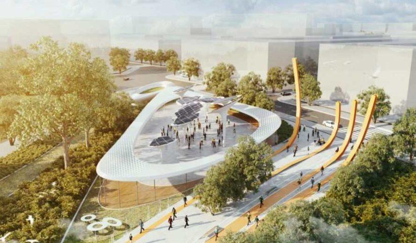 Центральный парк с производящими энергию «деревьями» в Хошимин